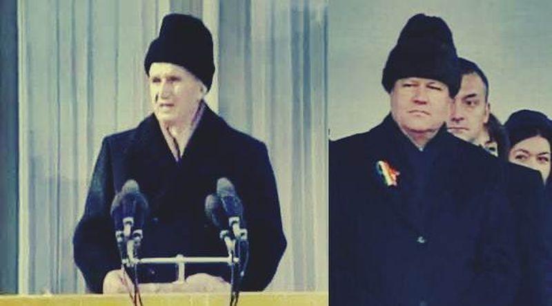 caciulile presedintilor Nicolae Ceausescu si Klaus Iohannis